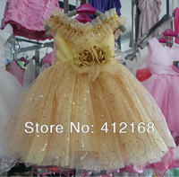 Golden Yellow Ruffles New Arrival Vintage Flower Girl Dress Princess Ball Gown Party Prom Kids  Costume Children's