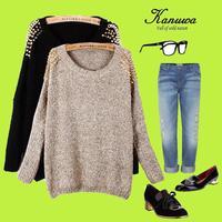 New 2014 Winter Women Pullovers Sweaters Hot Sale Long Sleeve Rivets Punk  Autumn Women Knitted Sweater Moletom Feminino