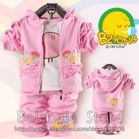 2013 New 3set/lot  Hot Sales Children's Clothing Small Set Cotton Coat+T-shirt+Pants Suit Baby Girls/Kid Three Piece Sets Free
