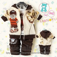 Wholesale - 2013 New Toddlers' Autumn 3-piece set, Outerwear +T-shirt+ Pants, boys suit , Free Shipping 3set/lot