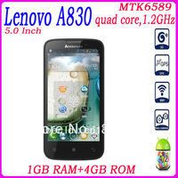 Free shipping Lenovo A830 Smartphone Android 4.2 MTK6589 1GB RAM 4GB ROM Quad Core 5.0 Inch IPS Screen 8.0MP Camera GPS 3G WIFI