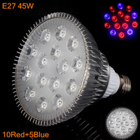5PCS/LOT sales 45w E27 85-265V High power 10red 5Blue LED Grow light for flowering plant and hydroponics system Free Shipping