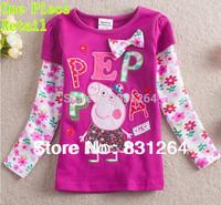 Free Shipping 2015 Hot Nova Kids Peppa Pig Baby Girl 100% Cotton Long Sleeves  Fashion Girls T shirts 2-6Year