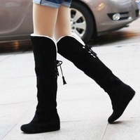 Big Discount ! New 2013 Women Winter boots  knee-high sweet casual snow boots nubuck leather Riding boots plus size