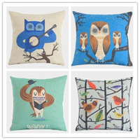 Wholesale Retro Vintage Owls Cotton Linen Cushion Cover Pillow Case, 4 Pcs/Set, 45*45CM