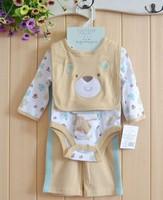 Top Sport Brand O-neck 4pcs/set Baby Boys Clothing Sets Long Sleeve Rompers Bodysuits Pant Bibs Socks Newborn Overalls 2014 New