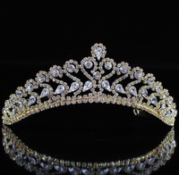 Ornate Vintage Flower Austrian Rhinestones Crystal Tiaras Bridal Wedding Party Gold Plated Crowns Headband