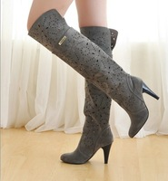 2013 spring and summer single boots summer cutout boots carved breathable hole net boots over-the-knee high-heeled boots
