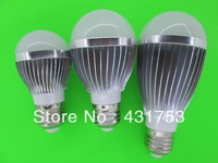 10W  LED Bulb Lamp,Dimmable  AC85-265V ,E14 E27 B22 GU10,Silver Shell Color ,Warm/Cool white,5*2w +Freeshipping