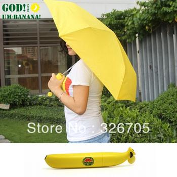 Free shipping Banana style umbrella Anti-uv sun Folding rain umbrella Creative Cartoon Umbrella women umbrella