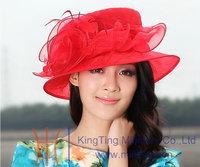 Free Shipping Fashion Women Hat Women Shawl Organza Hat Silk Organza Fabric 100% Ladies' Sun-Shading Flower Print Red Feather