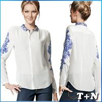 Free Shipping  Korean Style Long Sleeve Fall T Shirt, Plus Size Women Clothing, Print Chiffon Blouse Shirt For Women