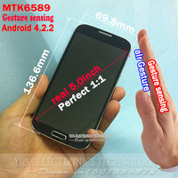 Galaxy phone MTK6589 S4 1:1 Android 4.2.2 S4 2GB ram MTK6589 Quad core 12mp camera I9500 phone 3G WIFI GPS Air Gesture sensing