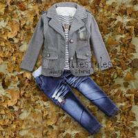 Baby boys halloween clothing sets children outerwear winter polo jackets t shirt denim jeans pants 3pcs suit clothes set for boy