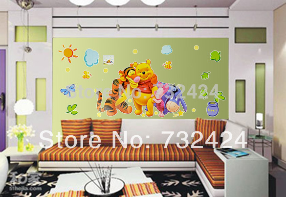 Cheapest Popular PVC Cartoon Tigers and Bear Wall Sticker Wall Mural Home Decor Room Decor Kids Room 6351(China (Mainland))