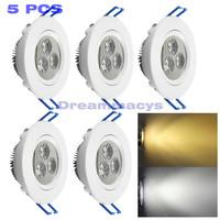 5pcs/lot 3W Ceiling Downlight Epistar Led Ceiling Lamp Recessed Spot Light 110V 220V 230V 240V For home illumination