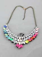 2013 New Shourouk Multi Neon Color Resin Stone Eagle Pendant Necklace Fashion Crystal Hawk Jewelry For Women Free Shipping