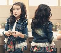 Free Shipping New 2014 Fashion Autumn / Winter Kids Children's Girl DENIM Jeans long coat/girl jacket/kids dress coat