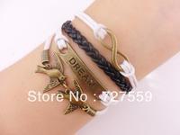 (Min Order $7) Charms Bangle Infinity Antique Bronze Karma Dream& Bird Rope Girl Leather Bracelet Gift Fashion Women Jewelry