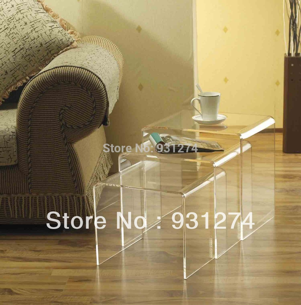 (Free Shipping)3pcs/set Acrylic nesting coffee table/riser table/side table/night table/living room furniture/acrylic furniture(China (Mainland))
