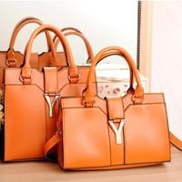 2014 New Y Letter Women Bag Retro Shoulder Bag Solid Color Messenger Handbag Horizontal / Vertical Two Styles in Stock