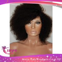 HOT SELLING!!! In stock 100% virgin brazilian kinky curly full lace wig natural black color  for black women