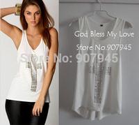 Free shipping sexy fashion rhinestones cross hot drill racerback low o-neck slim tanks womens vest t-shirts D019