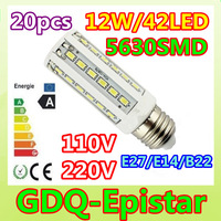 Free shipping 20x E27 E14 B22 12W=60W SMD5630 42LED High power LED corn light lamp bulb Warm/Pure/Cool White