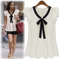 2014 Real New Summer Spring Women Sheer Tops Chiffon Female T Shirts Casual Boa Tie Blusas Chifon Seda Femininas Camisas