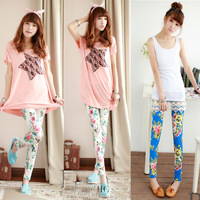 2013 Cotton Leggings Free Shipping Fashion Super Stretch Leggings Printing Elastic Pants Skinny Summer Trousers 1310
