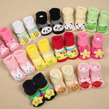 2015 Baby Animal Socks Newborn Baby Boys Outdoor Shoes Infant Girls Anti-slip Walking Children Warm Sock kids Gift 12pieces/lot