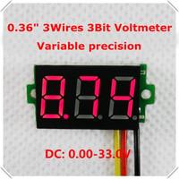 "0.36"" Digital Voltmeter DC0-33.0V Three wires 3 Digit Variable precision Voltage Panel Meter Display led Color: Red [10 pcs/lot]"