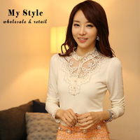 2014 Korean Style Fashion Spring Autumn OL Tops For Women With Bead Clothes Plus Size Lace Long Sleeve Shirt Free Shipping 58192