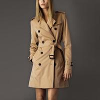 Free Shipping Guaranteed 100% 2015 Spring Autumn Winter New Fashion Women's Double Breasted Khaki Trench Coat Plus Size:S-XXL