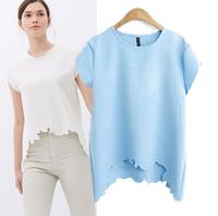 New Summer Women Blouse 20014 Ladies' Elegant Reverie Cutted T shirt O Neck Short Sleeve Shirt Casual Slim Brand Designer Tops