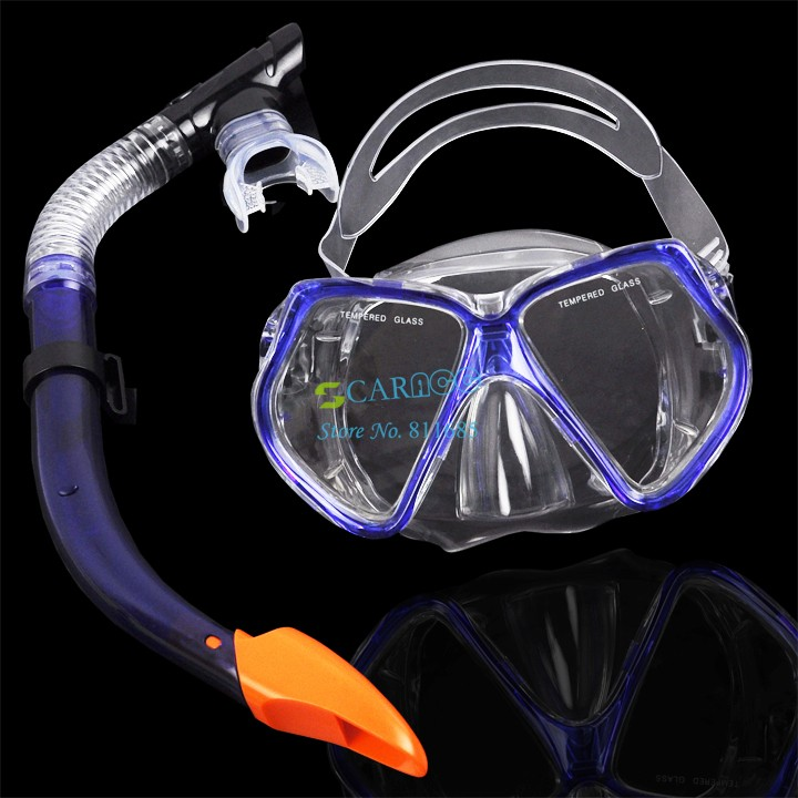 Dark Blue Scuba Toughened Glass Diving Mask And Snorkel Set, Shield, Goggles Swimming Goggles Diving Equipment TK0867(China (Mainland))