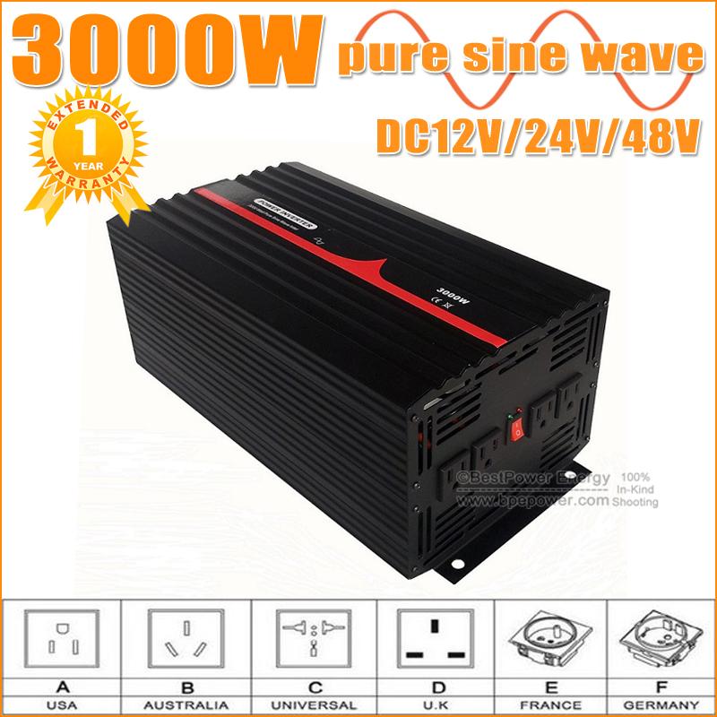 FREE Shipping!! 12V/24V/48V DC TO AC POWER INVERTER 3000W PURE SINE WAVE INVERTER, 3KW WIND SOLAR INVERTERS(China (Mainland))