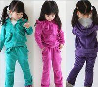 retail 2013 children suits winter clothing velvet sets hoodied +pants girls tracksuits autumn kids sports sets