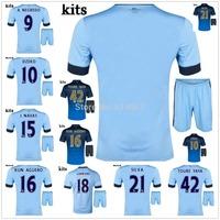 AGUERO TOURE YAYA SILVA 2015 man city home blue away soccer jersey + shorts kits, DZEKO J. NAVAS best quality football uniforms