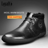 2014 New Arrival Men's Genuine Leather Boots Wool Lining Black Men's Warm Fur Boots Goatskin Upper Rubber Sole