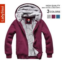New 2014 Fashion winter Plus velvet Hoodies Clothing Men's sport sweatshirts coats Zipper jacket for men Free shipping M-3XL