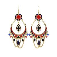 New Women Bohemian Gold/Silver Plated Multicolor Beads & Enameling Statement Dangle Earrings Jewelry D33768