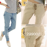 2013 Women Autumn Harem Elastic Waist 100% Cotton Casual Female Trousers Pencil Trousers 4 Colors Skinny Free Shipping