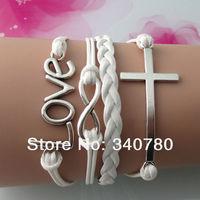 New Hot Silver love, Infinity, cross charms bracelets Faith bracelets handmade White Leather Cords bracelets gifts FB105
