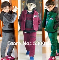 2014 new spring boys girls children winter cotton baby sports suit jacket sweater coat pants thicken kids clothes set
