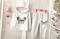 2014 New Baby Girls Autumn-Summer Outerwear Clothing Set Kids Jackets & Coats Girl Blouse Hoodies Sport Suit Pants Clothes Set