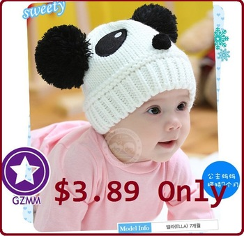 MOQ 1 Piece Low Price Free Shipping 2013 NEW Panda Shaped Lovely Boy Girl Hat,Winter Baby Hat,Knitted Cap Children Keep Warm Hat
