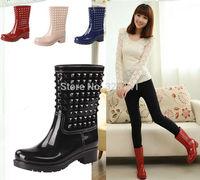 Hot Sale Rain Boots rainboots female water shoes female rivet fashion knee-high rainboots rubber shoes Free Shipping