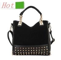 2013 new lady fashion handbags Korean version of personality stitching rivets handbag shoulder bag Messenger bag wholesale