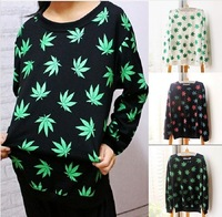 HOT!2014Harajuku Style New Women men Hemp leaf Pullover 3D Sweatshirts Loose Long Sleeve Hoodies Galaxy sweaters Outerwear Tops